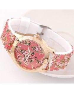 Various Roses Design Silicone Women Fashion Wrist Watch - Pink