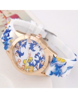 Chinese Blue and White Style Flower and Vines Design Silicone Women Fashion Wrist Watch