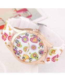 Adorable Cartoon Hearts Collection Design Silicone Women Fashion Wrist Watch