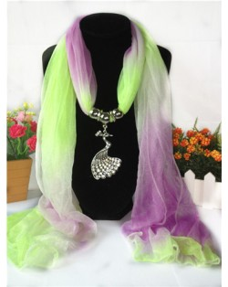Violet and Grass Gradient Color Peacock Pendant Fashion Scarf Necklace