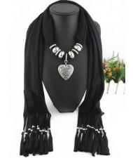 Classic Alloy Heart Pendant Fashion Scarf Necklace - Black
