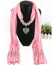 Classic Alloy Heart Pendant Fashion Scarf Necklace - Pink