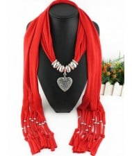 Classic Alloy Heart Pendant Fashion Scarf Necklace - Red