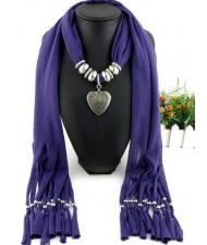 Classic Alloy Heart Pendant Fashion Scarf Necklace - Purple