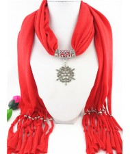 Snowflake Pendant Red Fashion Scarf Necklace