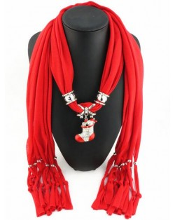 Christmas Tree Pendant Red Fashion Scarf Necklace