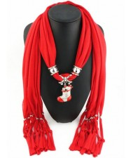 Christmas Stocking Pendant Red Fashion Scarf Necklace