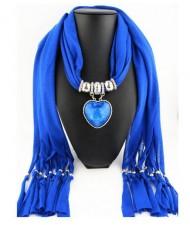 Heart Shape Pendant Fashion Scarf Necklace - Blue