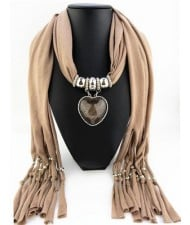 Heart Shape Pendant Fashion Scarf Necklace - Brown