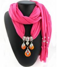 Triple Gem Waterdrops Pendant Fashion Scarf Necklace - Rose