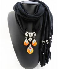 Triple Gem Waterdrops Pendant Fashion Scarf Necklace - Black