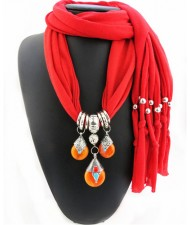 Triple Gem Waterdrops Pendant Fashion Scarf Necklace - Red