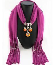 Triple Gem Waterdrops Pendant Fashion Scarf Necklace - Fuchsia