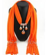Triple Gem Waterdrops Pendant Fashion Scarf Necklace - Orange