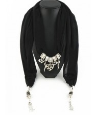 Assorted Hearts and Peppers Pendant Fashion Scarf Necklace - Black