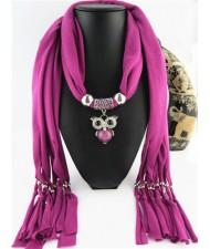 Cute Alloy Owl Pendant Fashion Scarf Necklace - Fuchsia