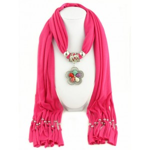 Gems Inlaid Angel Wing Pendant Fashion Scarf Necklace - Rose