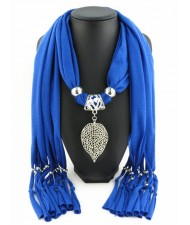 Refined Hollow Leaf Pendant Fashion Scarf Necklace - Royal Blue