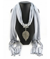 Refined Hollow Leaf Pendant Fashion Scarf Necklace - Gray