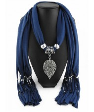 Refined Hollow Leaf Pendant Fashion Scarf Necklace - Ink Blue