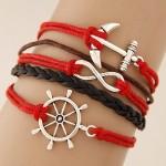 Vintage Anchor Rudder and Infinite Sign Pendants Multi-layer Weaving Fashion Bracelet - Red