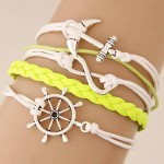 Vintage Anchor Rudder and Infinite Sign Pendants Multi-layer Weaving Fashion Bracelet - Yellow
