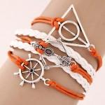 Rudder Triangle and Arrow Alloy Pendants Multi-layer Weaving Fashoion Bracelet