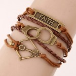 Faith Plate Handcuffs and Bow Pendants Multi-layer Weaving Fashoion Bracelet