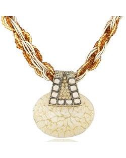 Bohemian Fashion Rhinestone Decorated Elegant Stone Pendant Mini Weaving Beads Necklace - Beige