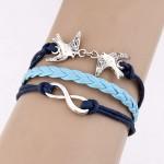 Peace Doves and Infinite Symbol Pendants Multi-layer Weaving Fashoion Bracelet