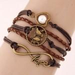 Vintage Love Birds Infinite Hope and Pearl Inlaid Heart Pendants Multi-layer Weaving Fashoion Bracelet