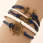 Classical Vintage Style Anchor Rudder and Infinite Sign Pendants Fashion Weaving Bracelet