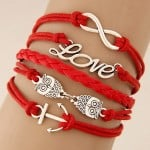 Dual Owls Ship Hook and Love Theme Multi-layer Weaving Fashion Bracelet - Red