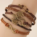Vintage Flying Dragon Arrow and Infinite Symbol Pendants Multi-layer Weaving Fashion Bracelet