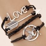 Arrow in Bird Jaw Love Theme Multi-layer Weaving Fashion Bracelet