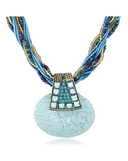 Bohemian Fashion Rhinestone Decorated Elegant Stone Pendant Mini Weaving Beads Necklace - Blue