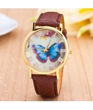 Dim Butterfly Theme Golden Wrist Fashion Watch - Brown