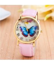 Dim Butterfly Theme Golden Wrist Fashion Watch - Pink