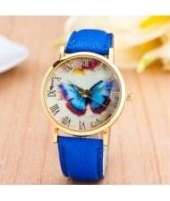 Dim Butterfly Theme Golden Wrist Fashion Watch - Blue