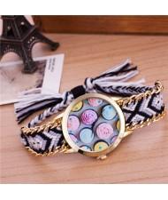 Colorful Roses Theme Weaving Braided Golden Rim Fashion Wrist Watch - Pattern 1