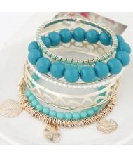 Mixed Elements Pendant Design Multiple Layers Beads Fashion Bangle - Blue