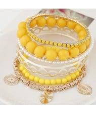 Mixed Elements Pendant Design Multiple Layers Beads Fashion Bangle - Yellow