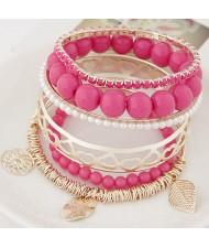 Mixed Elements Pendant Design Multiple Layers Beads Fashion Bangle - Rose