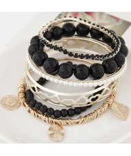Mixed Elements Pendant Design Multiple Layers Beads Fashion Bangle - Black