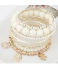 Mixed Elements Pendant Design Multiple Layers Beads Fashion Bangle - White
