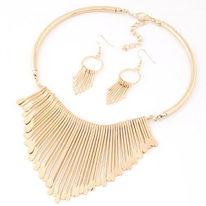 Western High Fashion Waterdrops Dripping Statement Necklace And Earrings Set Golden