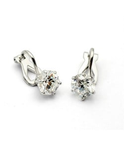 Six Claw Austrian Crystal Platinum Plated Ear Clips