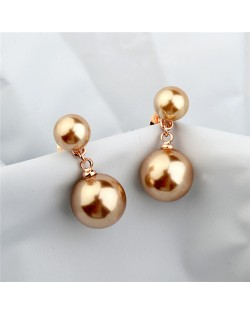 Dual Pearls Design Rose Gold Ear Studs - Champagne