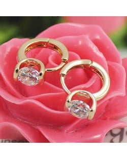 Austrian Crystal Embedded Classic Design Rose Gold Ear Clips
