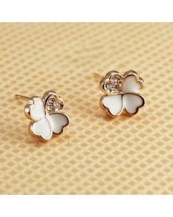 Dangling Pearls Tassel Fashion Rose Gold Plated Earrings